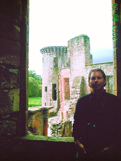 Caerlaverock Castle - Brian Carothers in the sleeping quarters