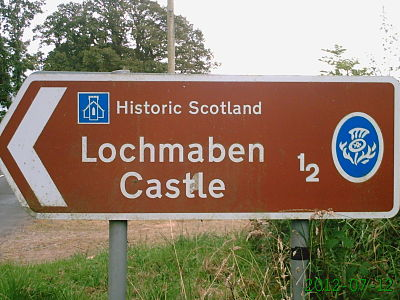 Lochmaben Castle road sign
