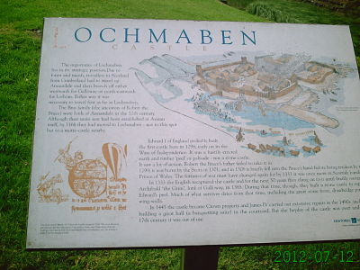Lochmaben Castle sign at castle